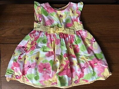 Gymboree Yellow Pink And Green Floral Dress Size 6-12 Months