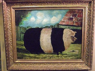 Antique Naive English school animal oil painting of a  Black and white pig