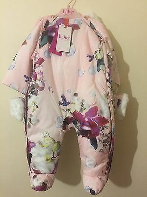TED BAKER BABY Girl's SNOW SUIT With Mittens. AGE 3-6 MONTHS. BNWT. Designer