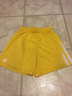 ADIDAS Adult Mens womens Size Small Climalite Soccer Shorts Yellow 3 Stripes