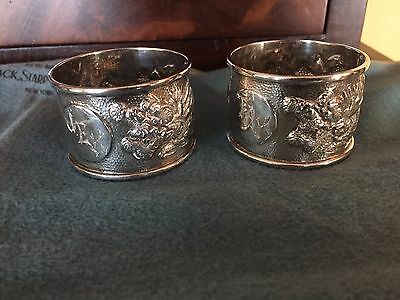 ANTIQUE CHINESE EXPORT SILVER PAIR OF DRAGON NAPKIN RINGS C1900 C J & Co