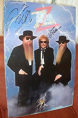 ZZ Top Poster Miller Lite Beer Billy Gibbons Dusty Hill Frank Beard Autographed