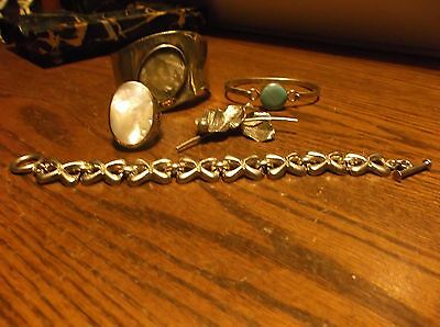 Great 5Pc Lot Sterling Silver Jewelry, Ring, 3 Bracelets, 1 Pin  Nice 130 Grams