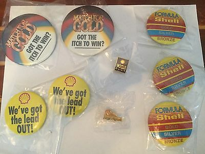 Shell Service Station Promotional Buttons/Pin Lot