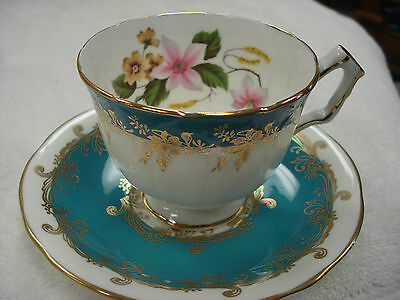 Aynsley Turquoise Floral Tea Cup & Saucer Made In England TR8