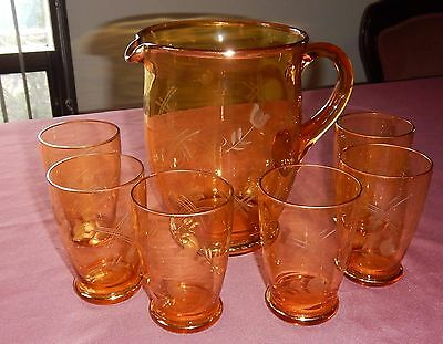 Vintage Retro Amber Glass Pitcher Jug And 6 Glasses - Etched And Gilded