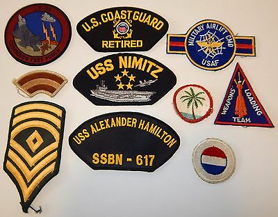 Lot #8 10 Assorted Military Patches: Uss, Coast Guard, Weapons Team, F-22 Force