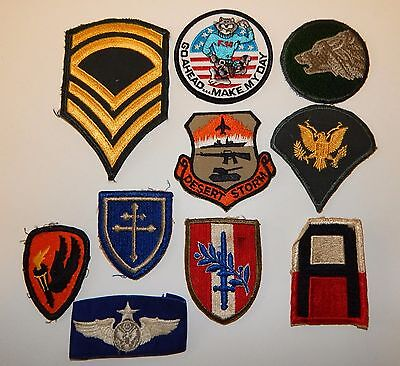 Lot #23 10 Assorted Military Patches: 1St Army, F-34 Tomcat, Desert Storm +++