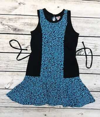 Girls JUSTICE DRESS SIZE 18 Blue/Black Floral Print Sleeveless Cotton GUC