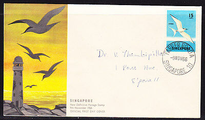 Singapore 1966 - 15c Tern First Day Cover. - addressed