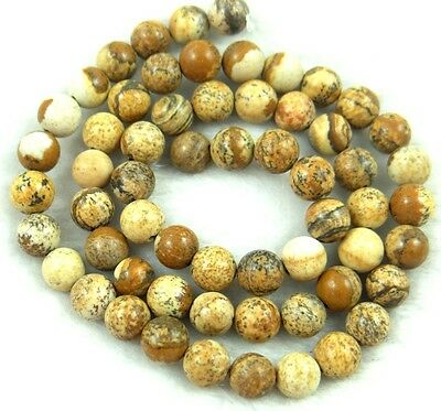 """8MM Natural Round smooth picture jasper Jewelry Making loose GEM beads 7.5"""""""