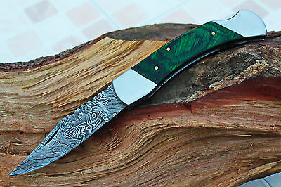 DAMASCUS CUSTOM HANDMADE FOLDING KNIFE w/LOCK BACK,FILE-WORK,LOCK BACK,CD-50-8