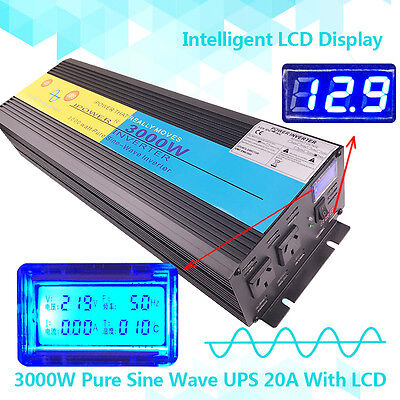 3000W / 6000W PEAK 12V-240V Pure Sine Wave power Inverter UPS with 20A CHARGER