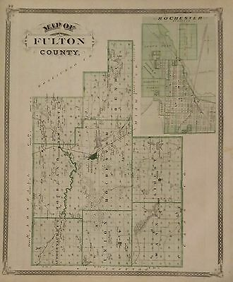 Antique 1876 Original Two Sided Map of Fulton County, Indiana