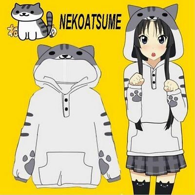 Game Neko Atsume ねこあつめ Cute Cat Lolita Warm Flannel Hoodie Coat Jacket Sweater
