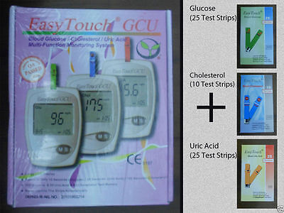EasyTouch for Glucose Cholesterol Uric Acid 3in1 Monitoring system + Test Strips