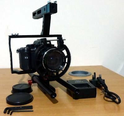 Panasonic LUMIX DMC-GH2 16.0MP Digital Camera with 28mm Lens & Rig Rail Cage