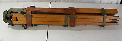 Antique Wood and Brass Heavy Duty Military Tripod Vintage Type A WW2 Transit