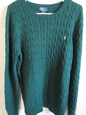 Boy's Polo Ralph Lauren Green Pullover Cable Knit Sweater Shirt Size XL 18/20
