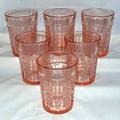"""6 Federal SHARON/CABBAGE ROSE PINK *4 1/8"""" 9 oz THICK WATER TUMBLERS*"""