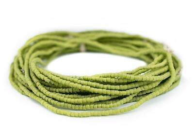 Lime Green Sandcast Seed Beads 3mm Ghana African Cylinder Glass 26 Inch Strand