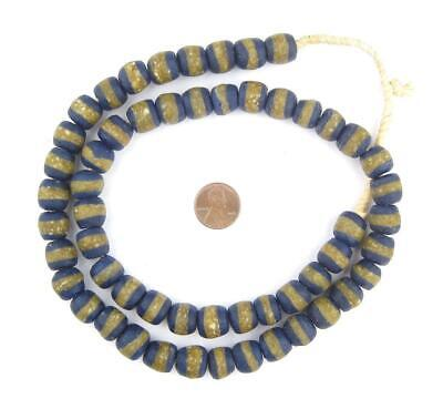 Cobalt Blue Kente Krobo Beads 13mm Ghana African Round Glass Large Hole Handmade