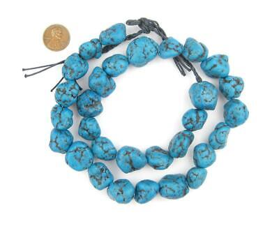 Bright Aqua Moroccan Pottery Beads Nugget 15mm Morocco African Blue Unusual Clay