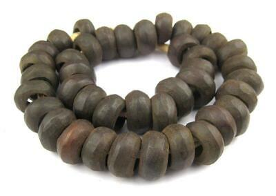 Grey Bone Saucer Beads 18mm Kenya African Large Hole 22 Inch Strand Handmade