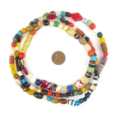 Vintage Nigerian Bead Medley Long Strand 9mm African Multicolor Mixed Glass
