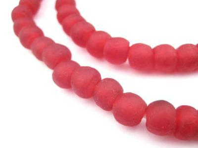 Red Recycled Glass Beads 9mm Ghana African Sea Glass Large Hole 24 Inch Strand