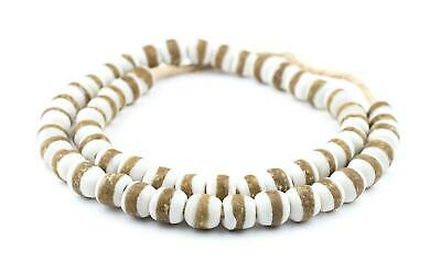 White Kente Krobo Beads 13mm Ghana African Round Glass Large Hole 28 Inch Strand