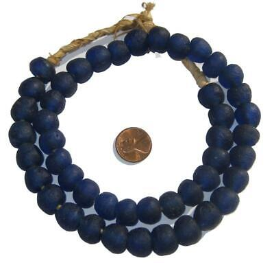 African Cobalt Blue Recycled Glass Beads (14mm) Ghana