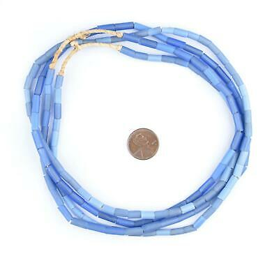 African Fulani Funeral Beads - Blue Russian Tube Glass Beads West Africa