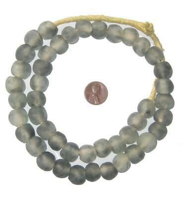 African Grey Mist Recycled Glass Beads (14mm) Ghana