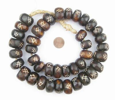 Tic-Tac-Toe Carved Brown Bone Beads Large 23mm Kenya African Round Large Hole
