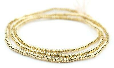 Gold Patterned Heishi Beads 3mm Brass 24 Inch Strand