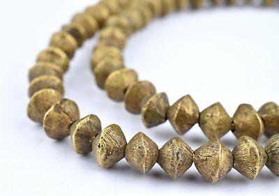 Ethiopian Wired Brass Saucer Beads 20mm African Large Hole 24 Inch Strand