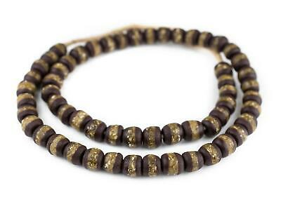 Dark Brown Kente Krobo Beads 13mm Ghana African Round Glass Large Hole Handmade