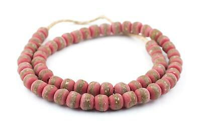 Red Kente Krobo Beads 13mm Ghana African Round Glass Large Hole 28 Inch Strand