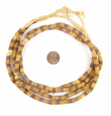Brown and Yellow Sandcast Powder Glass Beads 2 Strands 7mm Ghana African