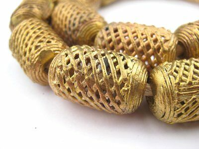 African Weaved Cylinder Brass Filigree Beads (20mm) Ghana