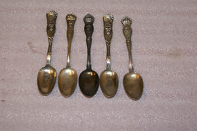 Lot of 5 World War 1 WWI Souvenir Spoons Lord Fisher George V Earl Roberts Joffr