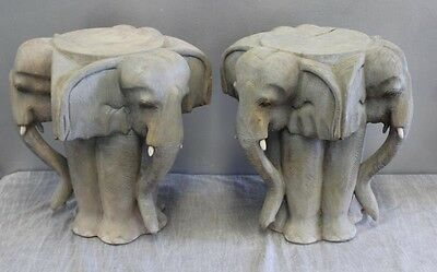 Unusual Pair Hand-Carved Elephant Stools - End Tables