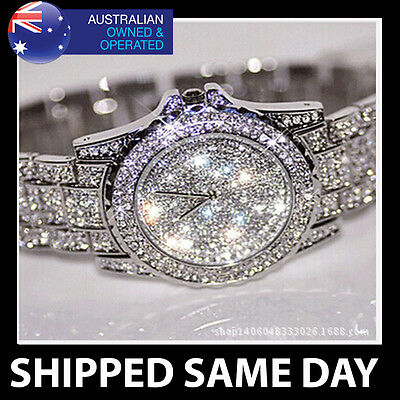 ICED OUT SILVER BLING WATCH FAUX DIAMOND CRYSTALS Mens Unisex Womens Ladies Gold