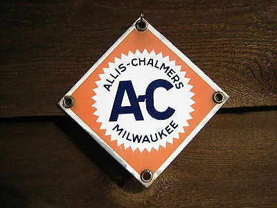 Vintage 4'' by 4'' MILWAUKEE  1950s Allis-Chalmers Porcelain Sign  Tractor?