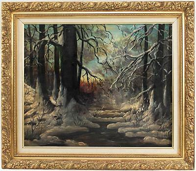 Vintage Hungarian School Framed Oil Painting Snowy Forest River Scene NR