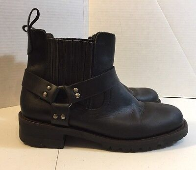 Men's GBX Black Leather Ankle Motorcycle Boots Size 9