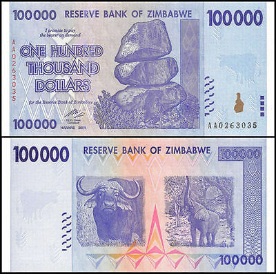 1 x Zimbabwe 100000 (100,000) Dollar banknote -UNC paper money currency