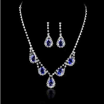 US Women Rhinestone Wedding Bridal Earrings Necklace Sets Crystal Jewelry CCUS
