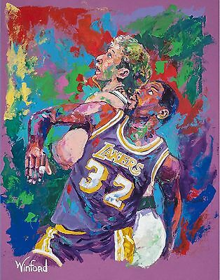 70% SALE LARRY BIRD/MAGIC JOHNSON 18 X 12 CANVAS & 1 FREE PRINTS SIGNED, Winford